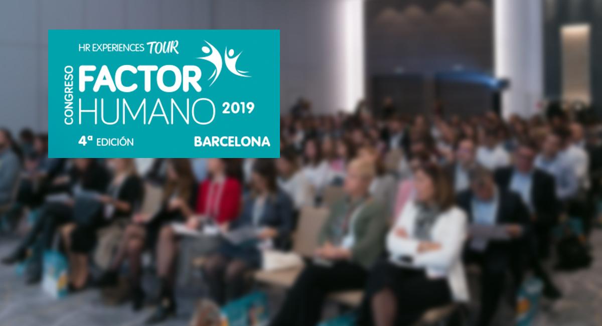 imagen del congreso de factor humano de 2019 en barcelona con el logo en primer plano
