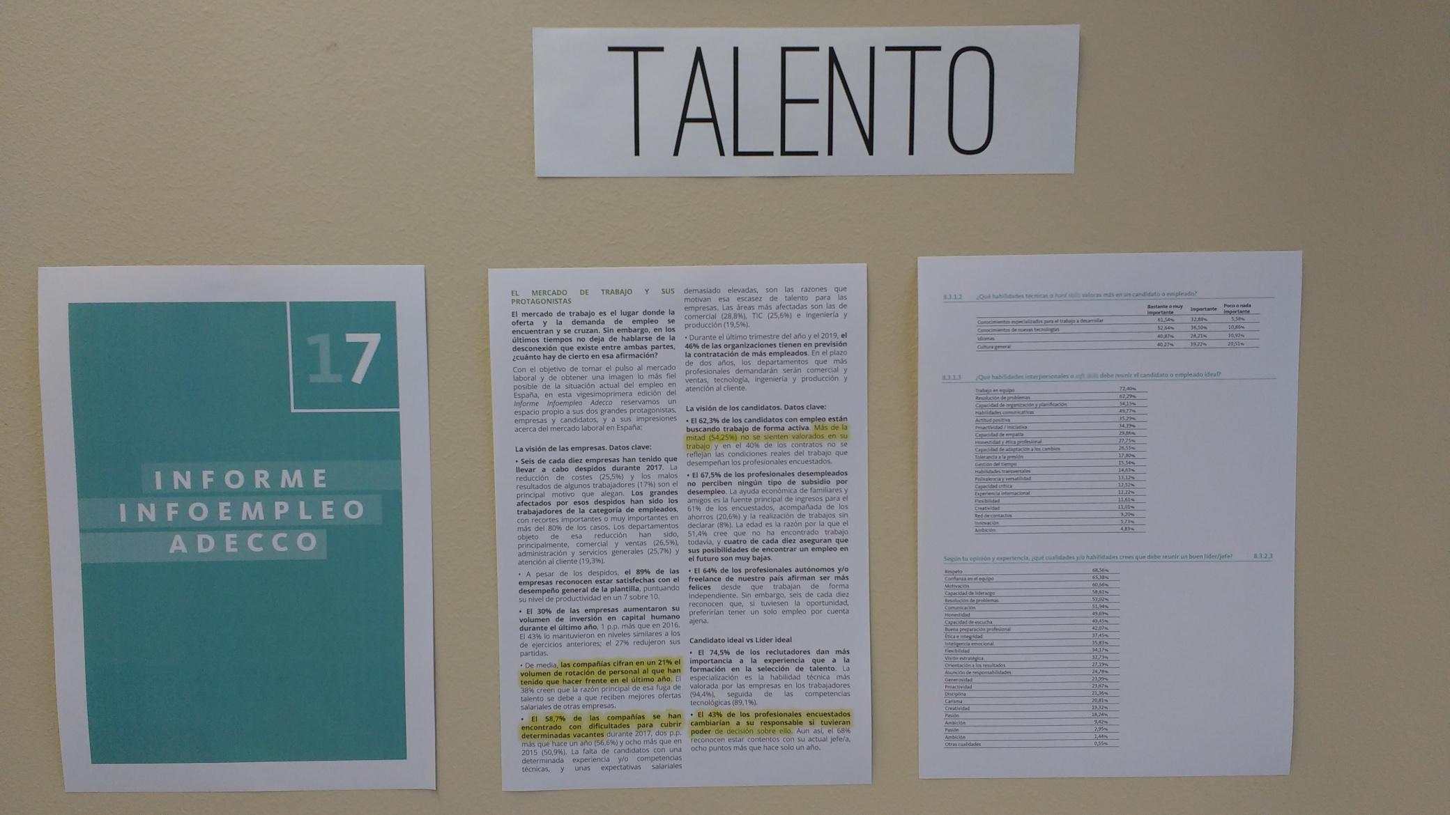 Información para concienciar a los asistentes del workshop Lifecourse Experience en ESADECREAPOLIS sobre el estado del talento en España