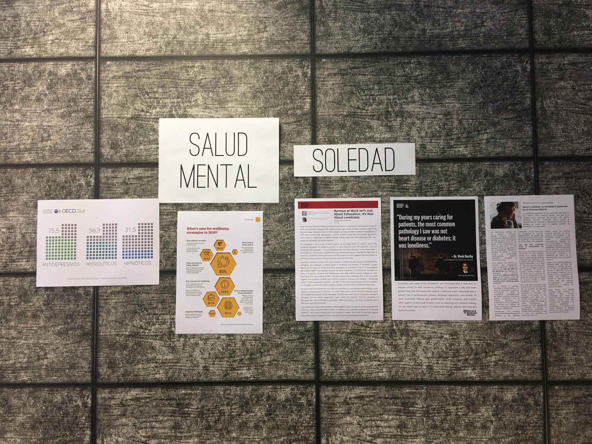 Información para concienciar a los asistentes del workshop Lifecourse Experience en ESADECREAPOLIS sobre el estado de la salud mental y la soledad en el trabajo