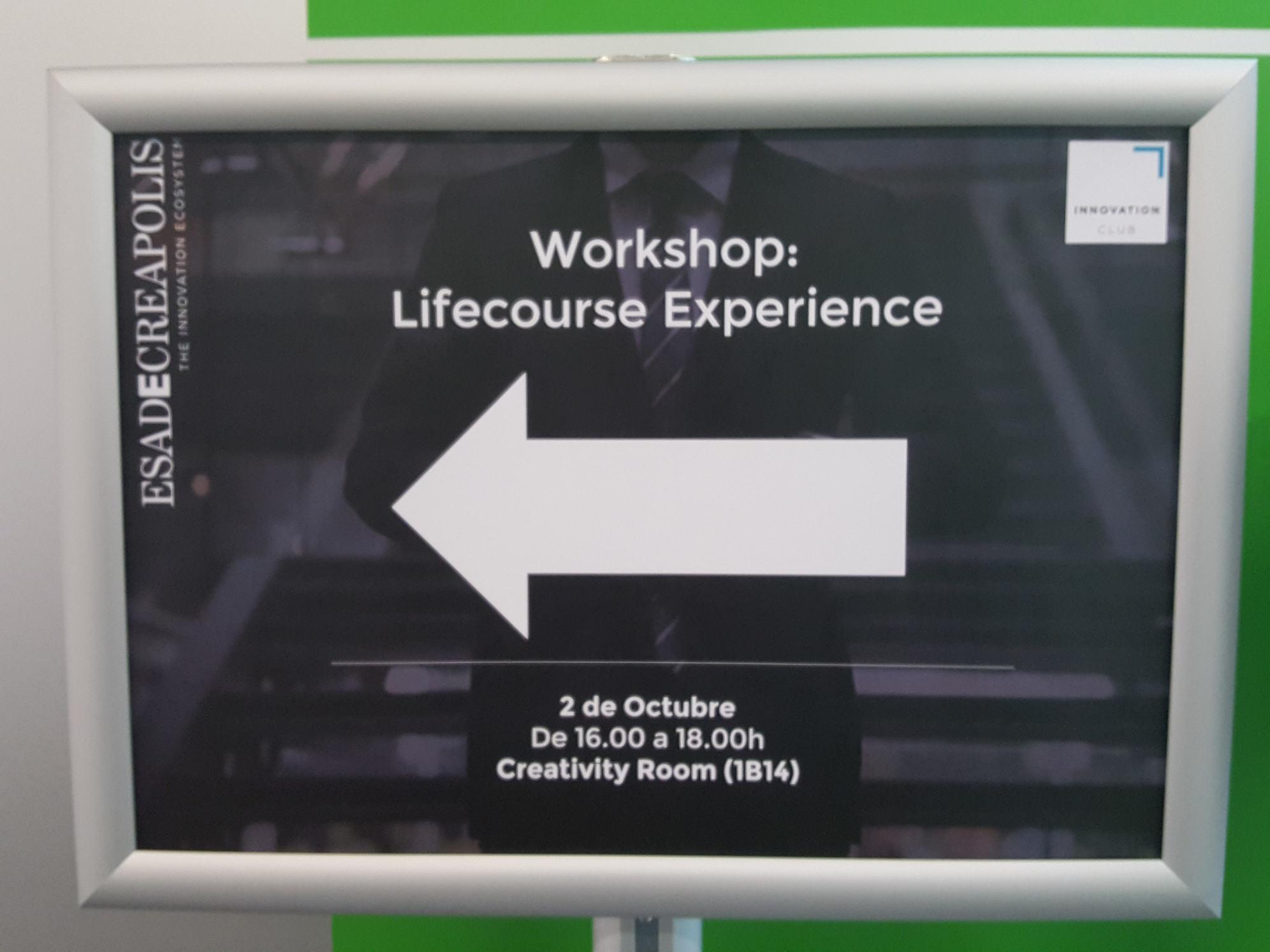 Cartel de anuncio del workshop Lifecourse Experience en ESADECREAPOLIS